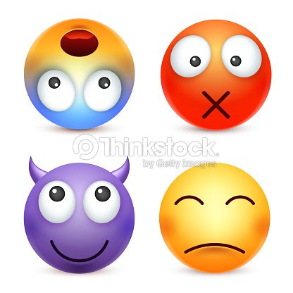 Smiley Emoticon Conjunto Cara Amarilla Con Las Emociones Expresión