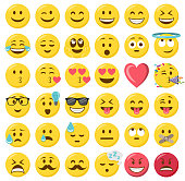Smileys emoji emoticon flat design set