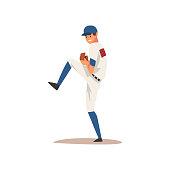 Smiling Baseball Player, Softball Athlete Character in Uniform Vector Illustration on White Background