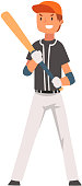 Smiling Baseball Player Standing with Bat and Ball, Softball Athlete Character in Uniform Vector Illustration on White Background