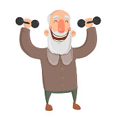 Smiling bearded old man with dumbbells. Active elderly man exercises. Cartoon character vector illustration. Isolated image on white background.