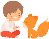 Smiling Boy Playing with Fox Cub, Kid Interacting with Animal in Contact Zoo Cartoon Vector Illustration on White Background.
