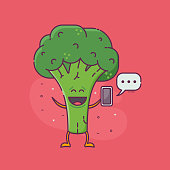 Smiling green broccoli messaging. Sending and receiving messages or email concept with cute vegetable broccoli or cabbage character holding smartphone. Vegetarian social network illustration.