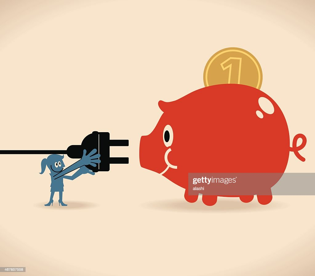 Smiling business women with large electric plug and piggy bank vector art getty images - Jumbo piggy banks for adults ...