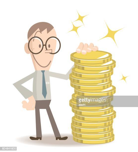 Smiling businessman with gasses standing leaning on a stack of gold coins (money)
