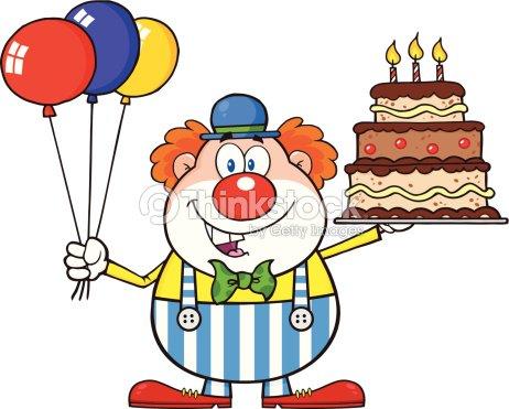 Sorridente Clown Con Palloncini E Torta Arte Vettoriale Thinkstock