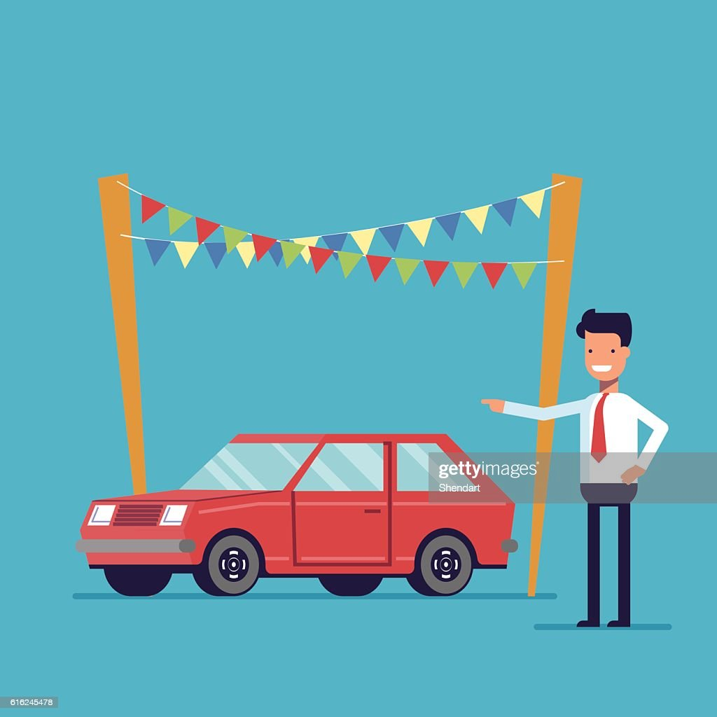 Smiling dealer offers to buy the car. Sale of new : Vector Art