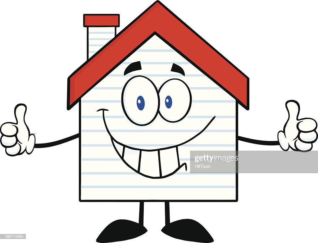Cartoon Characters Houses : Smiling house cartoon character with new siding vector art