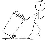 Cartoon stick man illustration of man pulling wheelie bin.