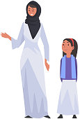 Smiling Mother and Her Daughter, Happy Arab Family in Traditional Clothes Vector Illustration on White Background.