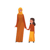 Smiling Mother Holding Hand Her Little Daughter, Muslim Arab Family in Traditional Clothes Vector Illustration on White Background.