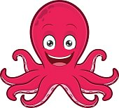 Clipart picture of a smiling octopus cartoon character