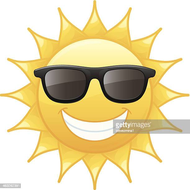 Smiling Radiant Yellow Summer Sun Wearing Black Sunglasses Vector Illustration