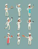 Smiling restaurant chefs, professional cooks in kitchen uniform vector cartoon characters set. Character chef professional in uniform illustration