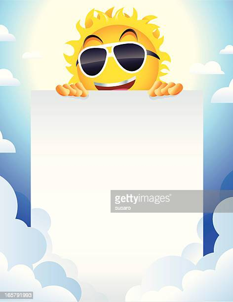 Smiling Summer Sun Cartoon Character with Sign