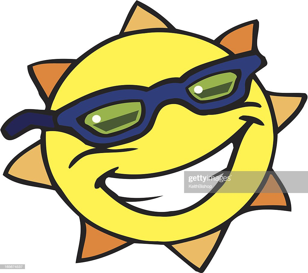 Smiling sun with sunglasses - Smiling Sun With Sunglasses Vector Art