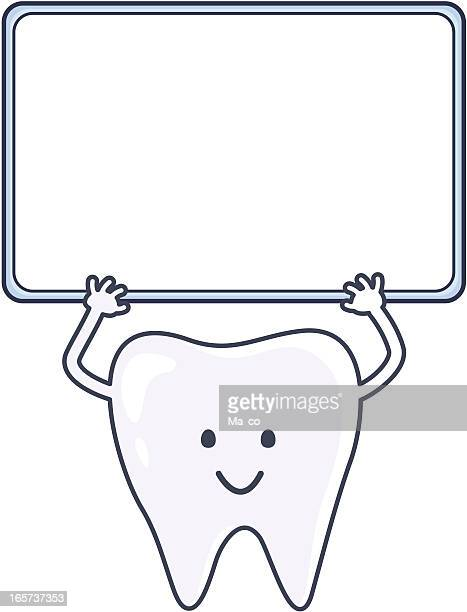 smiling tooth holds a blank sign for your text