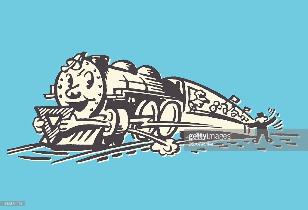 Treno sorridente : Arte vettoriale