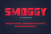 Smoggy heavy display font design, alphabet, typeface, letters and numbers, typography