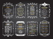 Snacks, salads, desserts, soups, lokal wines and tea chalkboard menu list designs set, hand drawn graphic illustration
