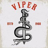 Snake on knife in tattoo style. Design element for t shirt, poster, card, emblem, sign. Vector illustration