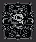 Skull with snake on ornate background graphic design.