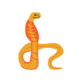 Snake Wild Exotic African Reptile Animal Vector Illustration on White Background.