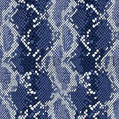 Snakeskin seamless vector pattern. Animal print in indigo blue.