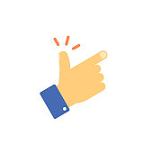 Snap fingers vector icon, flat cartoon snapping thumbs gesture symbol isolated on white, finger click signal