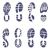 Sneaker tread set vector illustration on white background