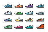 vector collection of isolated colorful sneakers icons
