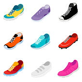Sneakers icon set in isometric style. multicolored athletic shoes