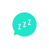 snoring sign in green speech bubble. concept of sleeping, insomnia, alarm clock app, deep sleep, awakening. isolated on white background. flat style trend modern design vector illustration
