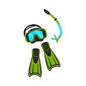snorkeling mask and swimfins isolated vector illustration