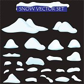 snow big set cartoon. snowdrift in vector. Set of different bank of snow, isolated. Video Game, mobile app