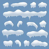 Snow caps, snowballs and snowdrifts vector set. Snow element, winter element snow, decoration snowball illustration