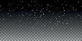 Snow horizontal seamless pattern on transparent background. Vector illustration