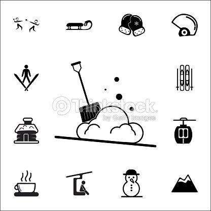 snow shovel icon set of elements christmas holiday or new year icons winter time