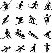 Ski, skate, hockey, snowboarding and sledding icons. Professional icons for your print project or Web site. See more in this series.