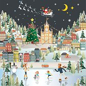 Snow Village Landscape night scene wallpaper, santa claus is coming to town