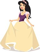 Drawing of beautiful royal girl from a classical fairytale