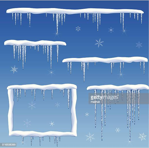 snow with icicles