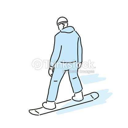 Snowboard and snowboarding winter sport, line drawing. hand drawn. vector illustration.