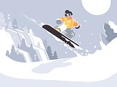 Snowboarder guy snowboarding on snowy winter slope and jump. Vector illustration