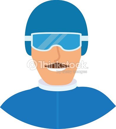 Snowboarder man in sports winter clothes. The athlete\'s icon in a helmet for a snowboard and points and with moustaches.