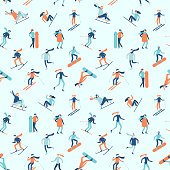 Snowboarding and skiing seamless pattern. Winter sport activities, young people on ski or snowboard, extreme fitness snowboarding. Snowboarder skier sportsman jump on mountain top vector background