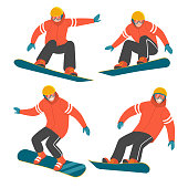 Vector illustration of a man in red winter jacket in different poses in action on the snowboard. Isolated on white.