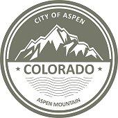 Snowbound Rocky Mountains - Colorado, Aspen label