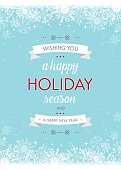 Typographic holiday greeting with banners and snowflake background.