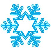 Blue snowflake. Decoration vector illustration. Place for text. Banner.